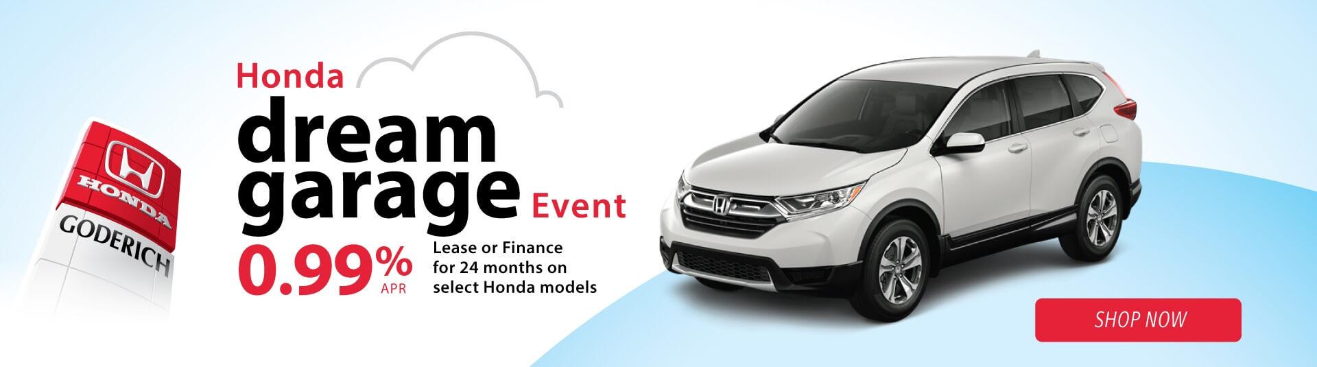 Honda Dream Garage monthly special for new Hondas